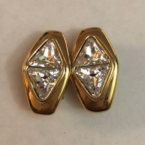 Vintage SAL Swarovski large crystal clip earrings